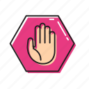 danger sign, stop, stop hand, traffic stop icon