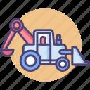 backhoe, backhoe loader, construction, loader, transport