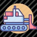 bulldozer, construction, transport icon