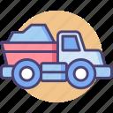 dump, dump truck, garbage, lorry, transport, truck icon