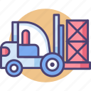 forklift, transport, warehouse