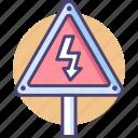 danger, electricity, high, high voltage, voltage icon