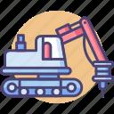 construction, hammer, hydraulic, hydraulic hammer, transport icon