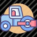 asphalt paver, road, road paver, road roller, roller icon