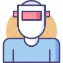 engineer, mask, mechanic, welding, welding mask icon