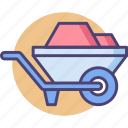barrow, construction, wheel, wheelbarrow icon