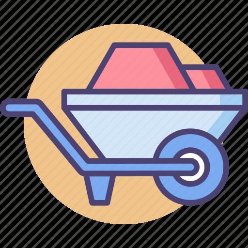 barrow, construction, wheel, wheelbarrow icon