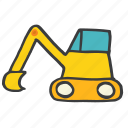 bulldozer, construction, earthmover, excavator, machine, road, vehicle icon