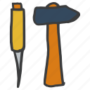 carpentry, construction, hammer, masonry, plumbing, repair, tools icon