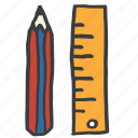 draw, education, engineering, measurement, pencil, school, student icon
