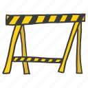 barrier, construction, safe, safety, tape, under, warning icon