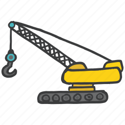 building, construction, crane, earthmover, hook, lever, tool icon