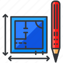 blueprints, construction, equipment, maintenance, pencil, plan icon