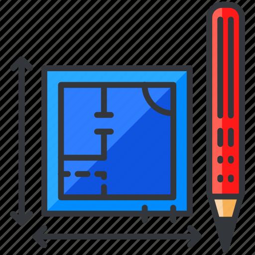 blueprints, construction, equipment, maintenance, pencil, plan icon