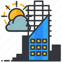 building, cloud, construction, maintenance, sun icon