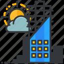 building, cloud, construction, maintenance, sun icon