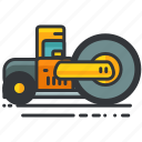 construction, equipment, flattener, truck, vehicle icon