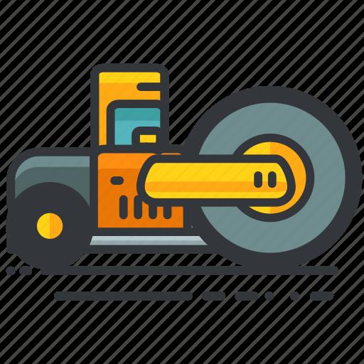 construction, equipment, flattener, truck, vehicle icon