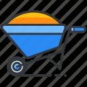 construction, full, maintenance, tool, wheelbarrow