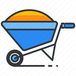 construction, full, maintenance, tool, wheelbarrow icon