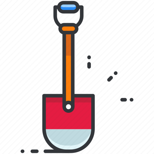 construction, maintenance, rounded, shovel, tool icon