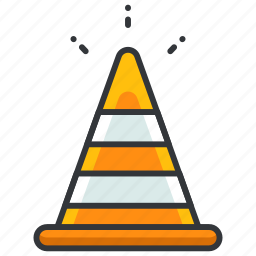 cone, construction, equipment, maintenance, safety, security, street icon