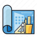 architecture, concept, construction, guide, idea, ruler, stationary icon