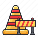 cones, construction, delimiter, divider, work in progress icon