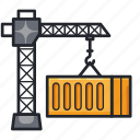 construction, container, crane, industry, shipment icon
