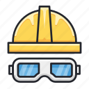 construction, eyeglasses, helmet, protector, safety icon