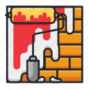 brick, building, construction, paint, painting, wall icon