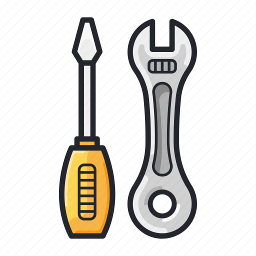 construction, equipment, screwdriver, tools, wrench icon