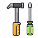 construction, equipment, gavel, screwdriver, tools icon