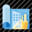 architecture, concept, design, draft, idea, stationary icon