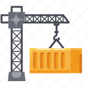 construction, container, crane, industrial, shipment icon