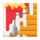 brick, paint, painting, roller paint, wall icon