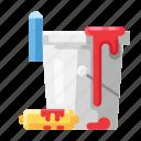 bucket, construction, paint, paint bucker, paint roller icon