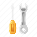 construction, equipment, key, screwdriver, tools, wrench icon