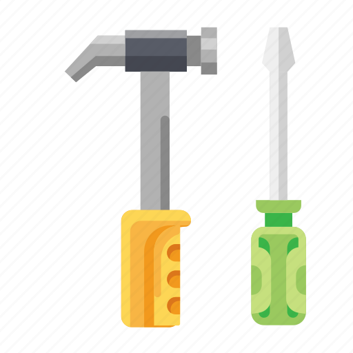 Construction, equipment, gavel, hammer, screwdriver, tools icon - Download on Iconfinder