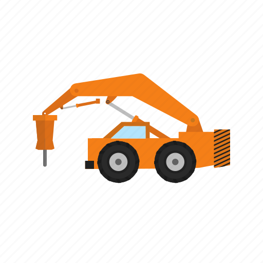 building, construction, destroy, heavy machine, machine, rock breaker, truck icon