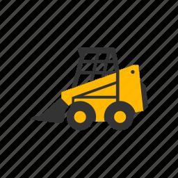 bobcat, construction, digging, dirt, loader, small, wheel icon