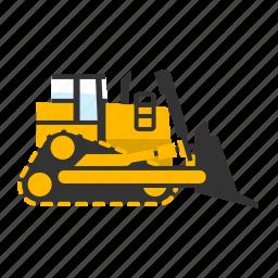 bulldozer, crawler, dirt, landfill, mining, push, tracks icon
