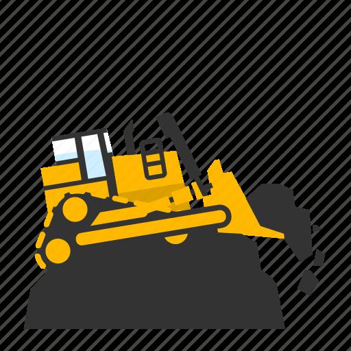 bulldozer, crawler, dirt, landfill, mining, push, trash icon
