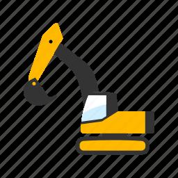 construction, digging, excavator, machine, machinery, tracks icon