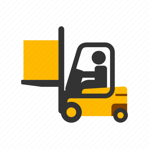 color, construction, forklift, lifting, loading, moving, transport icon