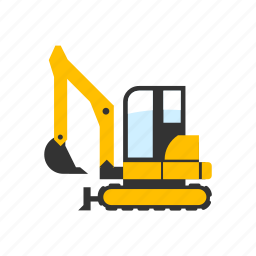 construction, digger, digging, excavator, light, mini, small icon