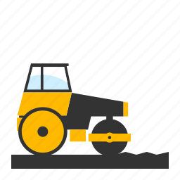 compacting, compactor, flattening, heavy, road, roller, wals icon