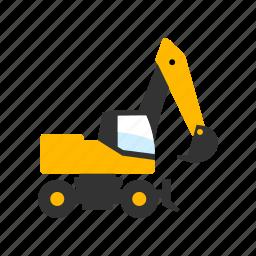 contruction, digging, equipment, excavator, machine, machinery, wheel icon