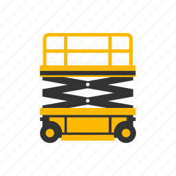 contruction, high, lift, maintenance, moving, scissor, wheels icon