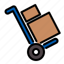 box, delivery, trolley icon